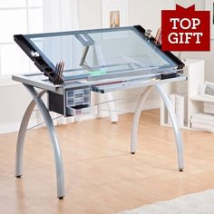Perfect Adjustable Drafting Table With Glass Top For Lightbox Tracing.