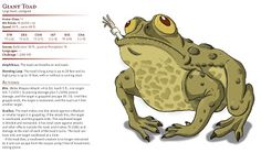 Another giant animal, the giant toad hail back to the original Monster Manual, however unlike the Giant Frog, the Giant Toad did not origi. Giant Animals, Toad, Beast