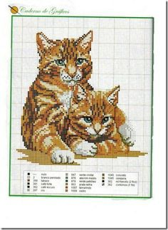 Cute cross stitch graph of mother cat and one of her kittens.