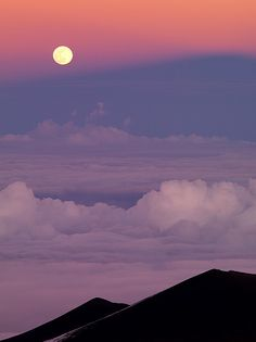 moon over mauna kea, hawaii