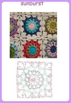 How to Crochet a Solid Granny Square Point Granny Au Crochet, Granny Square Crochet Pattern, Crochet Diagram, Crochet Chart, Crochet Squares, Crochet Stitches, Crochet Bedspread, Crochet Pillow, Crochet Baby
