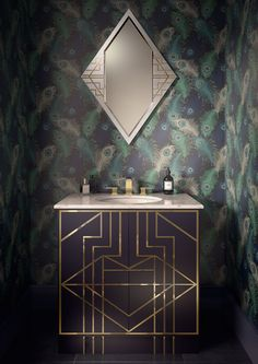 12 Ideas For Designing An Art Deco Bathroom See all our stylish art deco bathrooms design ideas. Art Deco inspired black and white design. Art Deco Vanity, Art Deco Bathroom, Bathroom Ideas, Bathroom Vanities, Bathroom Cabinets, 1920s Bathroom, Bathroom Black, Bathroom Trends, Bathroom Pictures