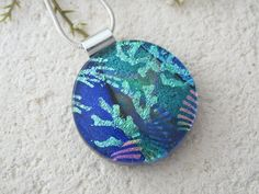 Dichroic Necklace  Blue Black  Contemporary   by ccvalenzo on Etsy, $30.00