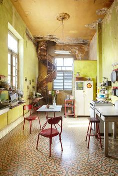 """CUBAN KITCHENS AFTER 50 YEARS OF U.S. TRADE EMBARGO  by Lisa Wade:Offering a peek into this life, Ellen Silverman has been photographing Cuban kitchens.  NPR describes how they capture, among other things, the """"grand, but crumbling"""" architecture,"""" mismatched kitchenware, and vintage appliances."""