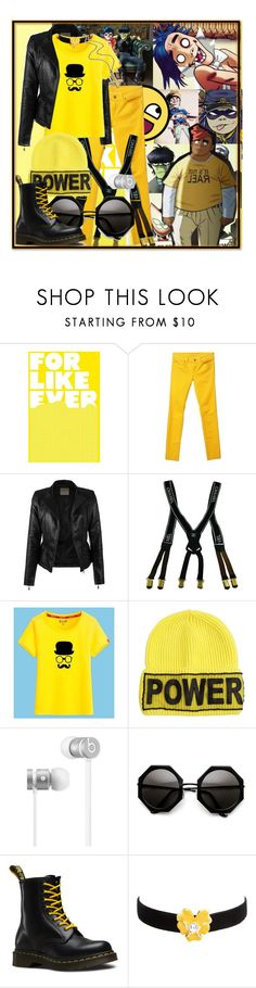 """Power Collage Set//Gorillaz"" by ihasawand ❤ liked on Polyvore featuring Hobbs, 7 For All Mankind, Chanel, Versace, Beats by Dr. Dre, Dr. Martens and Kenneth Jay Lane"