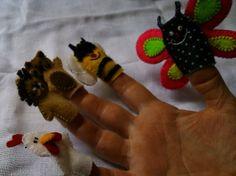 Dedoches dos animais e insetos para que possa criar histórias e muitas aventuras brincando com os dedos e a imaginação.