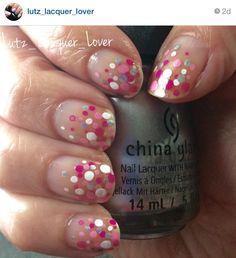Instagram: Lutz_Lacquer_Lover  Mani Monday -- Simple. Sheer with dots. Acrylic paints for the pinks and white. Silver dots are #ChinaGlaze I'd Melt For You.  #diynails #ididitmyself #nailart #nailartamateur #followme #polishaddict #floridanailgirl #tampanailgirl #healthynails #summernails