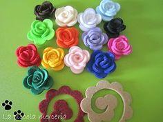 3-12 kit per realizzare rose fiori feltro 3D colori a scelta 40 mm bomboniere