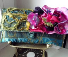 Spring clutch handbag with flowers. Boho, hippie, gypsy.