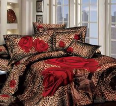 red roses leopard brown california king   3d mattress cover bedding sets bed linens bed sheet set duvet cover bedding collection