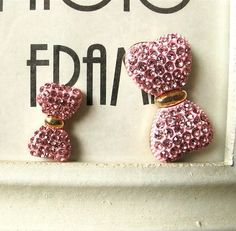 Sale 2 pieces Pink Red Rhinestone Bow Flat Back DIY by YYwholesale, $1.99