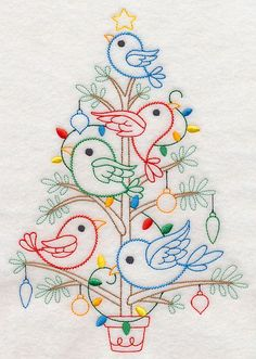 Machine Embroidery Designs at Embroidery Library! - Birds of Christmas Bird Embroidery, Hand Embroidery Stitches, Hand Embroidery Designs, Cross Stitch Embroidery, Embroidery Sampler, Vintage Embroidery Patterns, Lazy Daisy Stitch, Crazy Quilting, Needlework