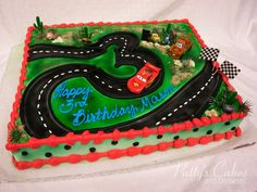 Photo of a disney cars birthday cake made by Patty's Cakes and Desserts. A bakery in Fullerton, Orange County, CA.