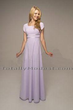 A Line Square Neck Orange Chiffon Long Modest Bridesmaid Dress ...