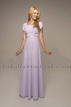 A Line Grape Purple Chiffon Beaded Long Modest Bridesmaid Dress ...