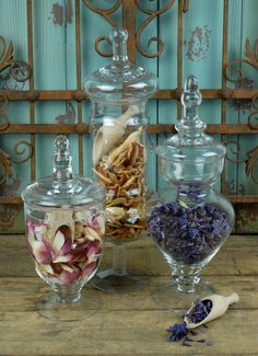 Apothecary Jars Glass (Set of 3) $27.99  http://www.save-on-crafts.com/apothecary-jars-3.html