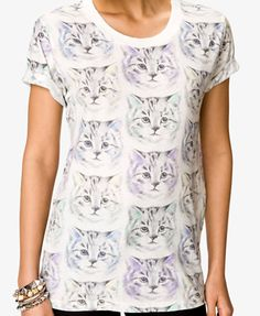 Multicolored Cat Print Tee | FOREVER21 - 2048203022