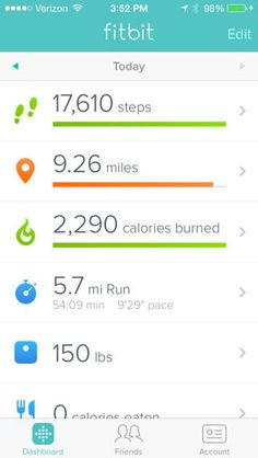 Fitbit app- track your steps, exercise, calories consumed + burned and more!