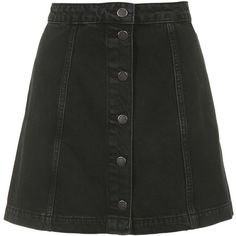 TOPSHOP MOTO Black Button Through A-Line Skirt found on Polyvore
