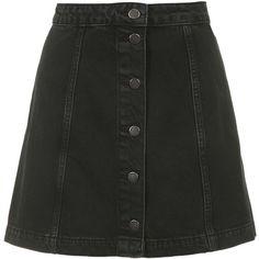 TOPSHOP MOTO Denim Button Front A-Line Skirt ($52) ❤ liked on Polyvore featuring skirts, bottoms, faldas, black, black knee length skirt, black skirt, denim a line skirt, black denim skirt and button skirt
