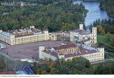 Aerial view of the Great Gatchina Palace built in 1766–1781 in Gatchina town (Russia).  Palace interiors are exemplary of Russian classicism at the turn of 18th—19th centuries. The Gatchina Palace was one of the favourite residences of the Imperial family.