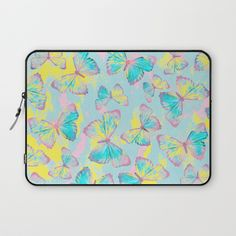 BUTTERFLIES YELLOW Laptop Sleeve  #butterfly #butterflies #spring #summer #interior #design #home #decor #decoration #blue #pink #yellow #insects #pillow #bedroom #livingroom #bathroom #fashion #style #curtain #bag #mug #duvet #cover #bedding #art #print #canvas #tapestry #wall #paint #painted