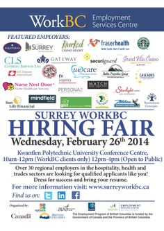 Surrey WorkBC Centres' Large Multi-Employer #HiringFair!