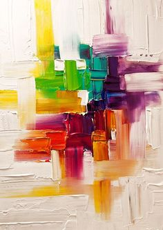 Abstract art, bright coloured horizontal and vertical brush strokes
