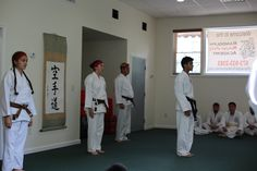 Randolph Martial Arts Academy Brown Belts line up to perform kata- Sept. 2015