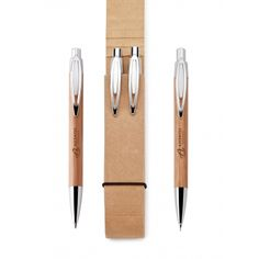 Bamboo Pen & Pencil Set with Recycled Cardboard Case | Eco Promotional Products, Environmentally and Socially Responsible Promotional Products