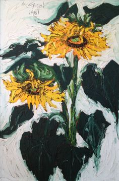 Nanno de Groot (1913-1963), Sunflowers, 1961, oil on plywood, 36 x 23.75""