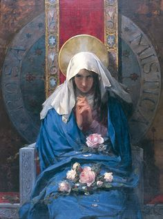 """Art Print of """"Rosa Mistica"""" by Francisco Laporta Valor, 1894 - Classic Vintage Esoteric Art - Canvas or Photo Poster Blessed Mother Mary, Blessed Virgin Mary, Alphonse Mucha, Veil Of Veronica, Edward Moran, Virgin Mary Painting, Verge, Esoteric Art, Queen Of Heaven"""