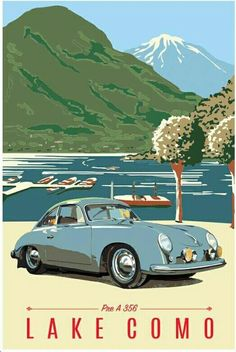 Porsche 356 pre A Vintage Travel Posters, Poster Vintage, Vintage Postcards, Vintage Ads, Vintage Style, Auto Poster, Music Poster, Art Deco Posters, Car Posters