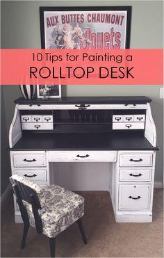 10 Tips for Painting a Rolltop Desk DIY! - Desk Wood - Ideas of Desk Wood - 10 Tips for Painting a Rolltop Desk DIY! Desk Redo, Desk Makeover, Diy Desk, Furniture Makeover, Refurbished Furniture, Repurposed Furniture, Furniture Projects, Home Furniture, Painting Furniture