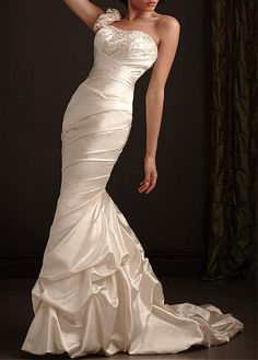 CURVED SATIN MERMAID SCOOP ONE SHOULDER NECKLINE WEDDING DRESS WITH LACE APPLIQUES BEADINGS AND RHINESTONES