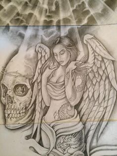 Art Chicano, Chicano Drawings, Sexy Drawings, Angel Tattoo Drawings, Tattoo Sketches, Skull Tattoo Design, Tattoo Sleeve Designs, Prison Drawings, Chicano Tattoos Sleeve