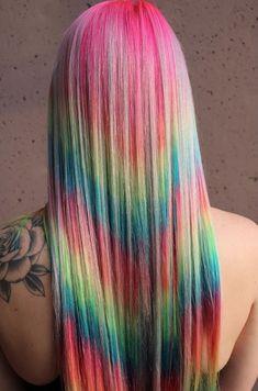 Shot Hair Styles, Long Hair Styles, Rainbow Dyed Hair, Hair Addiction, Hair Heaven, Beautiful Hair Color, Hair Creations, Funky Hairstyles, Hot Shots