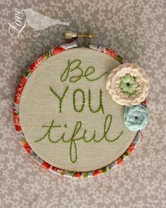 hoop art - embroidery, crochet and a fabric wrapped hoop Love The Blue Bird: Hoop Art...
