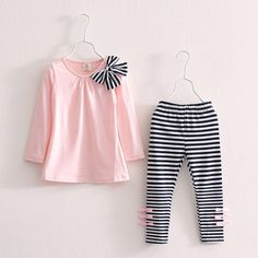 Baby Kids Clothes Girls Sets 2019 New Cotton Casual Children Clothing Set Long Sleeve Tops Striped Pants Roupas Infantis Menina Dresses Kids Girl, Kids Outfits Girls, Shirts For Girls, Baby Outfits, Cute Outfits, Sporty Outfits, Legging Outfits, Striped Leggings Outfit, Striped Pants