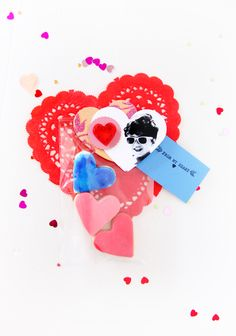 My son's sugar cookies, he chose red + pink + blue colors to paint his Valentine sugar cookies.