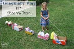 Thumbnail image for Imaginary Play :: Shoebox Train Fun Crafts For Kids, Craft Activities For Kids, Toddler Activities, Projects For Kids, Games For Kids, Diy For Kids, Craft Ideas, Crafty Kids, Toddler Fun