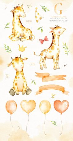 The set of high quality hand painted watercolor giraffe and elements images. Flower bouquets and wreath are also included in this set. Included 2 pre-made Watercolor Animals, Watercolor Flowers, Watercolor Art, Clipart, Painting For Kids, Art For Kids, Baby Art, Woodland Animals, Nursery Art