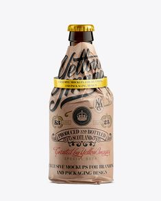 33cl Steinie Beer Bottle Wrapped In Kraft Papper With Ribbon Mockup. Preview