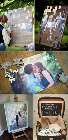 fun and creative puzzle wedding guest book ideas Spaß und kreative Puzzle Hochzeit Gästebuch Ideen This image has. Trendy Wedding, Perfect Wedding, Dream Wedding, Wedding Book, Wedding Reception, Wedding Fun, Polaroid Wedding Guest Book, Jenga Wedding, Wedding Stuff