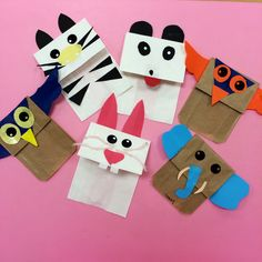 Animal paper bag puppets Animal Crafts For Kids, Crafts For Kids To Make, Crafts For Teens, Animals For Kids, Jungle Animals, Skunk Craft, Paper Bag Crafts, Paper Bags, Paper Bag Puppets