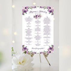 #Weddings #seating #chart #printable #signs #template #affordable #purple #floral #decorative