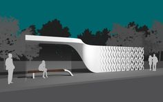 """BUSSTOBJECT is a hybrid object, a part of city mobiliar, a vertical wall smoothly twisting into a cantilevered roof of a bus stop. 3d printed from """"photocatalytic concrete"""" it becomes a part of """"The City Lungs"""". Design by Ivo Jelinek and Marketa Janova. www.ijarchitecture.com"""