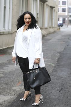 Staples Plus Size Outfit Ideas | Black and White Outfit |How to wear Leather Pants