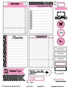 Free Pink Zebra Print Journal Cards and Labels for Project Life from Vintage Glam Studio