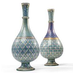 Phillipe Joseph Brocard 1796 - 1896 A very fine associated pair of Islamic style  enameled glass bottled vases Paris, circa 1850